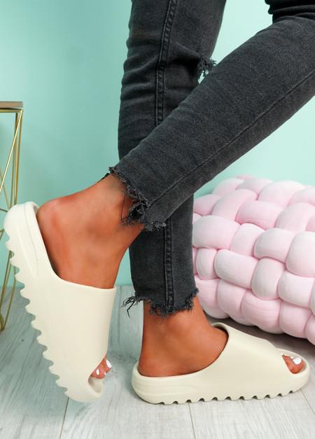Minna Beige Flat Sandals