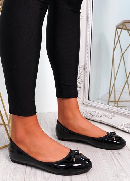 Tremo Black Slip On Ballerinas