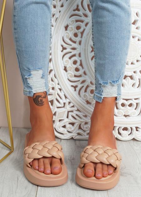 Ceny Beige Braided Flat Sandals
