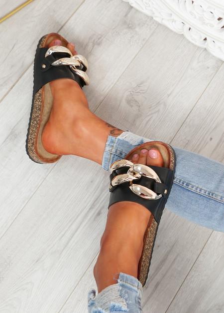Serena Black Front Buckle Flat Sandals
