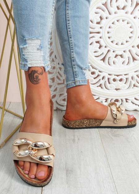 Serena Nude Front Buckle Flat Sandals