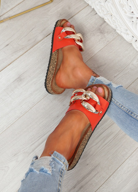 Serena Red Front Buckle Flat Sandals