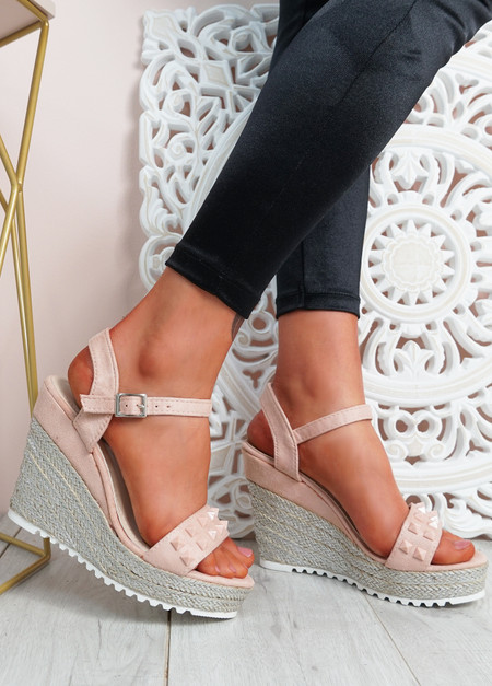 Anny Pink Rock Studs Wedge Sandals