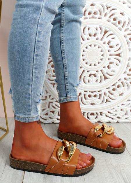 Ryo Camel Flat Sandals