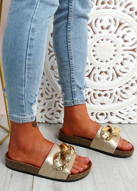 Ryo Gold Flat Sandals
