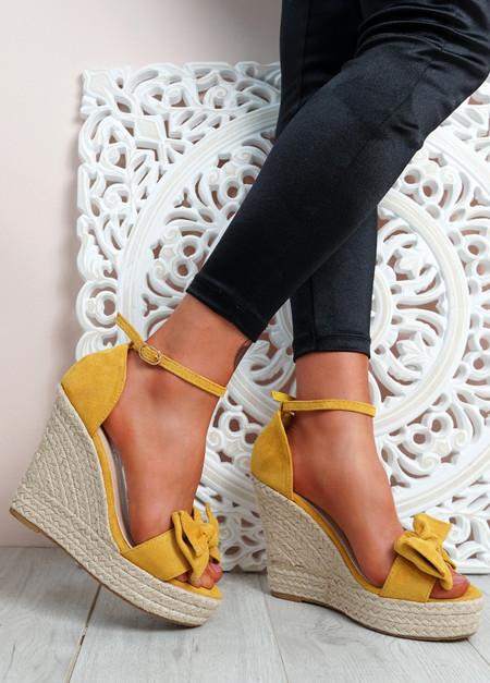 Norro Yellow High Heel Wedge Sandals