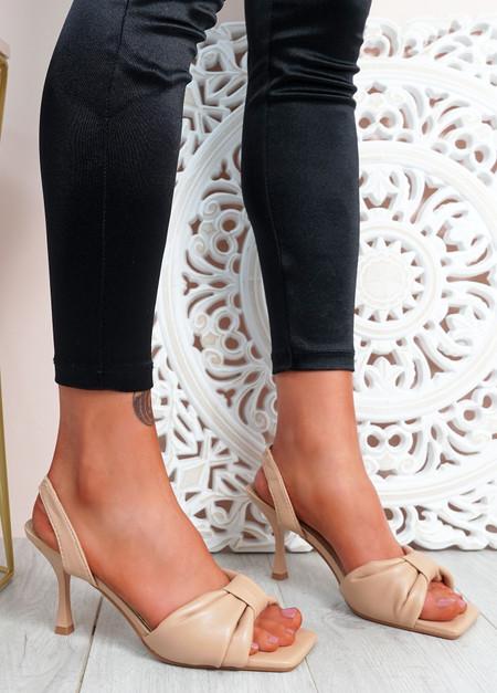 Sandy Beige Bow Stiletto Sandals