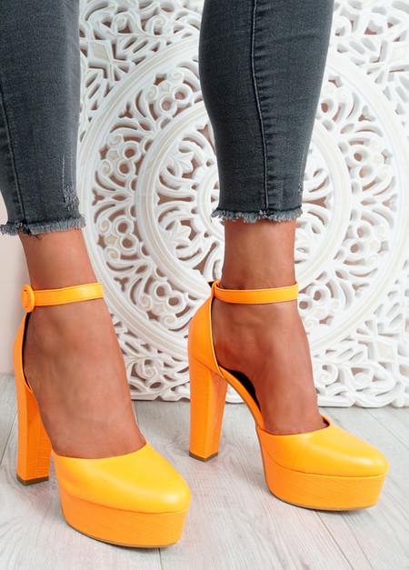 Mizza Orange High Block Heel Pumps