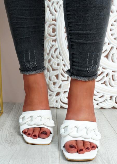 Nory White Slip On Stiletto Sandals