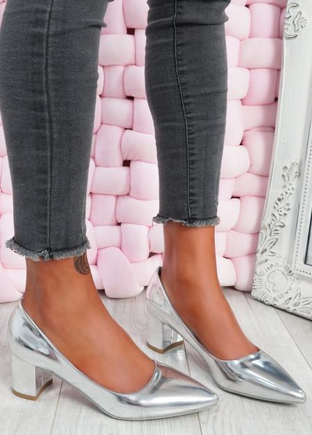 Yasmin Silver Block Heel Pumps