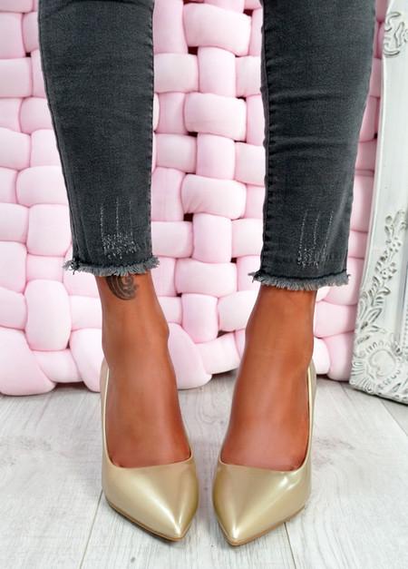 Isabella Gold Stiletto Pumps