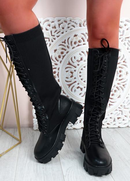 Coby Black Biker Knee High Boots