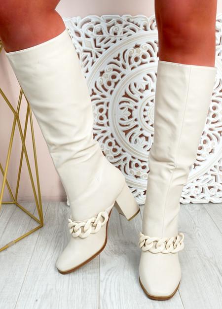 Teegan Beige Block Heel Knee High Boots