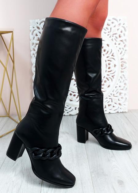 Teegan Black Block Heel Knee High Boots