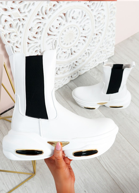 Roberta White Chelsea Chunky Ankle Boots