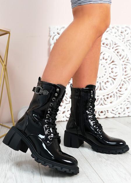 Juliet Black Patent Biker Ankle Boots