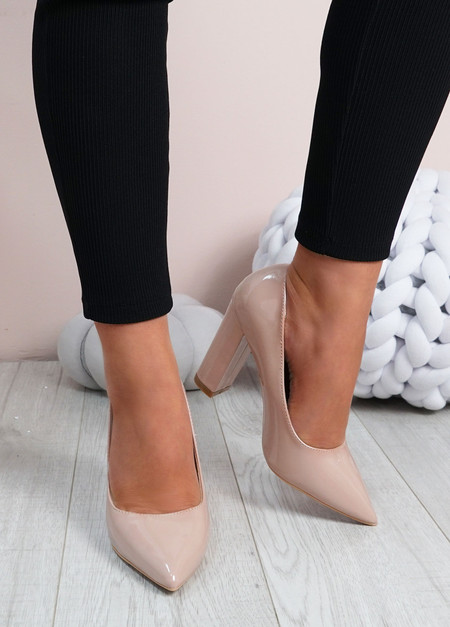 Cora Beige High Block Heels Shoes