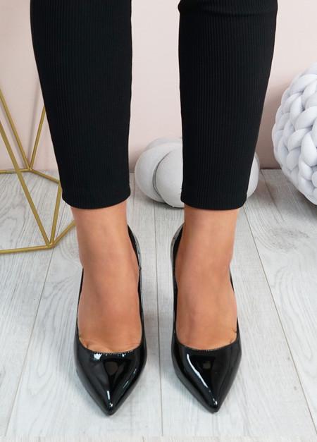 Cora Black High Block Heels Shoes