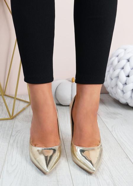 Cora Gold High Block Heels Shoes