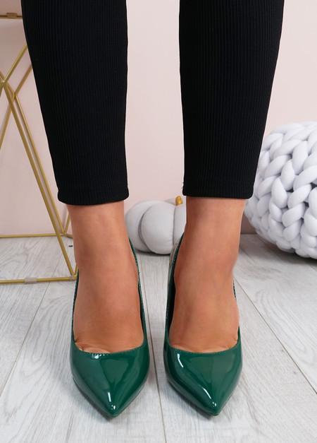 Cora Green High Block Heels Shoes