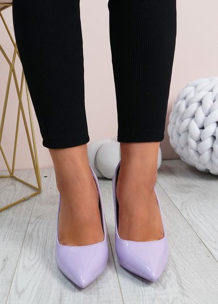 Cora Purple High Block Heels Shoes