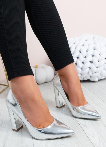 Cora Silver High Block Heels Shoes