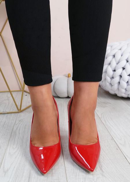 Cora Red High Block Heels Shoes