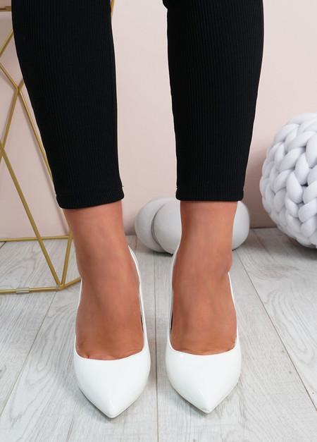 Cora White High Block Heels Shoes