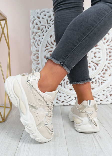 Lucia Beige Chunky Trainers
