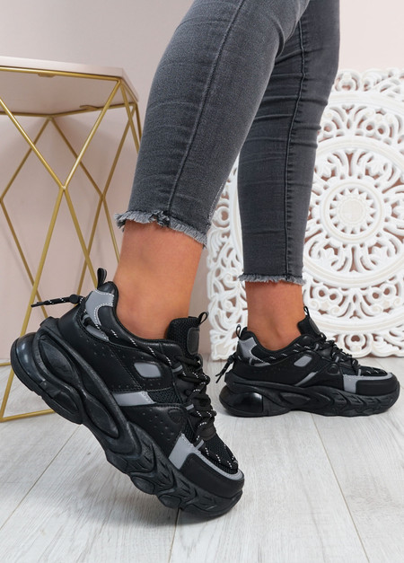 Lucia Black Chunky Trainers