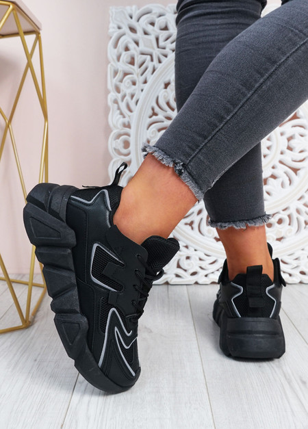 Lilly Black Chunky Trainers