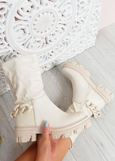 Paige Beige Mid Calf Boots