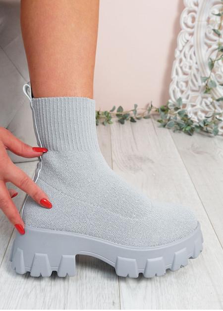Erin Grey FlyKnit Sock Ankle Boots