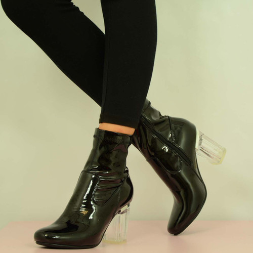 BLACK PU CLEAR BLOCK HEEL BOOTS