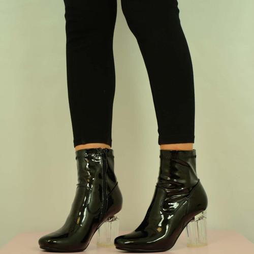 971612b55e NEW WOMENS HIGH CLEAR BLOCK HEEL BOOTS BLACK PU SHOES SIZE UK 3 4 5 ...