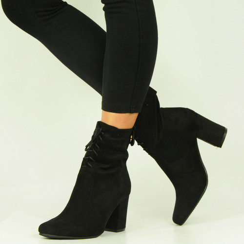 Black Mid Block Heel Lace Up Ankle Boots
