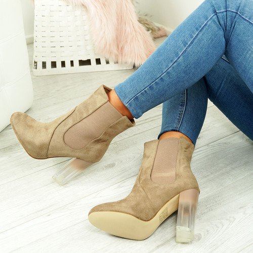 Theda Taupe Clear Block Heel Ankle Boots