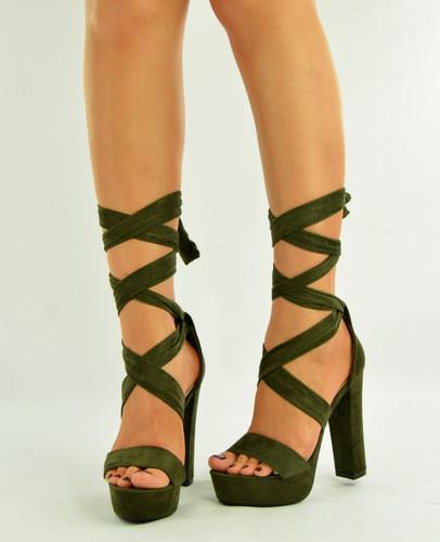 Olive High Block Heel Platform Sandals
