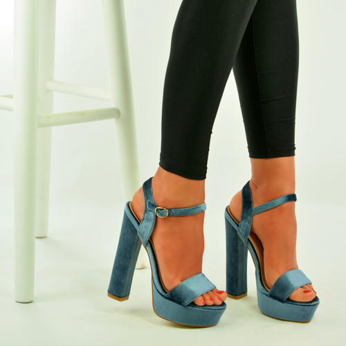 Grey Velvet Ankle Strap Platform Sandals