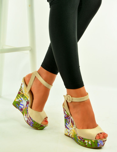 Beige Floral Print Wedge Sandals Shoes