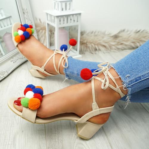 Nicola Beige Pom Pom Sandals