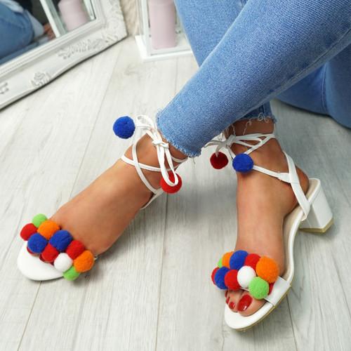 Nicola White Pom Pom Sandals