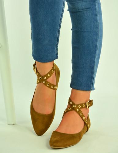 Camel Ankle Strap Ballerinas