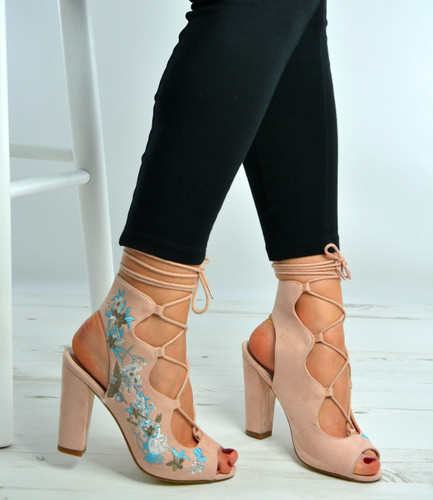 Amnesia Pink Side Flowers Sandals