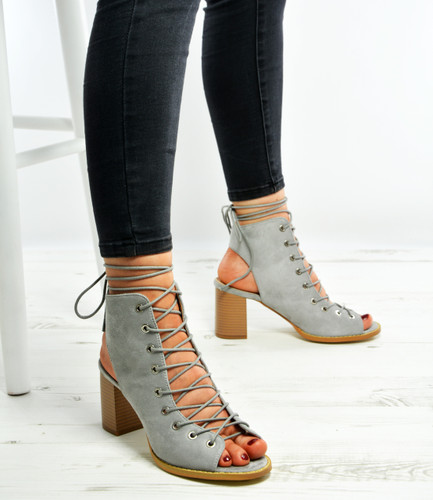Grey Lace Up High Block Heels Sandals