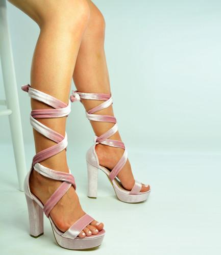 06312b179 New Womens Ankle Tie Sandals Ladies High Block Heel Platform Sandals ...