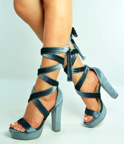 Grey Ankle Tie Platform Block Heel Sandals