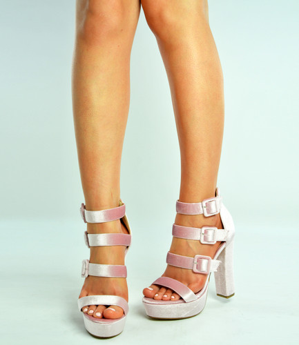 Pink Triple Strap Block Heel Platforms