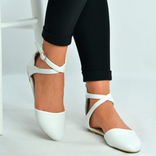 White Pu Ankle Strap Ballerina Pumps