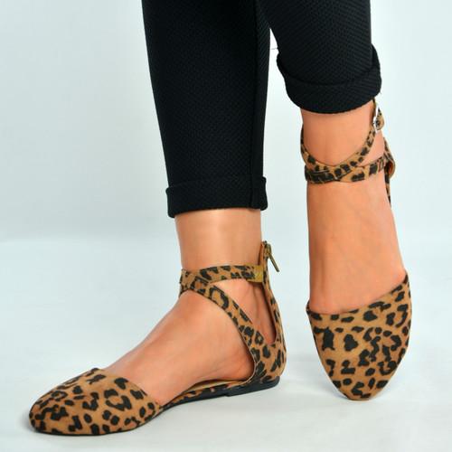 Leopard Ankle Strap Ballerina Pumps